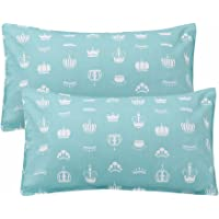 "LIFEREVO 100% Cotton Crown Print 2 Pack Toddler Pillowcases Envelope Style Closure for Pillow Size 13""x18"" and 14""x19"" (Aqua)"