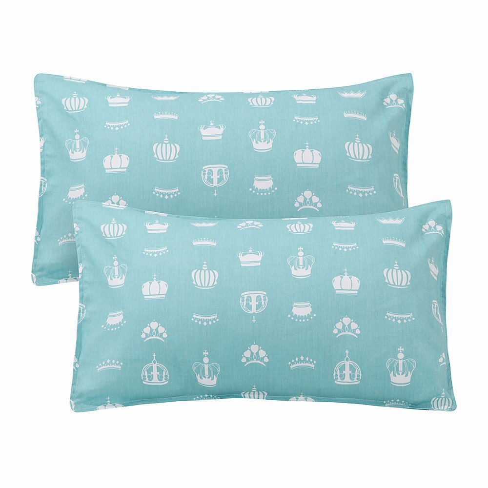Aqua LIFEREVO 100/% Cotton Crown Print 2 Pack Toddler Pillowcases Envelope Style Closure for Pillow Size 13x18 and 14x19
