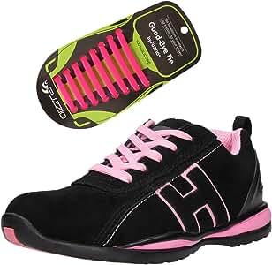 FUZZIO Zapatos de Seguridad para Mujer - Calzado de Trabajo - Cordones elásticos de Silicona Que no se Atan, para Zapatillas, Color Rosa, Talla 41 EU: Amazon.es: Zapatos y complementos