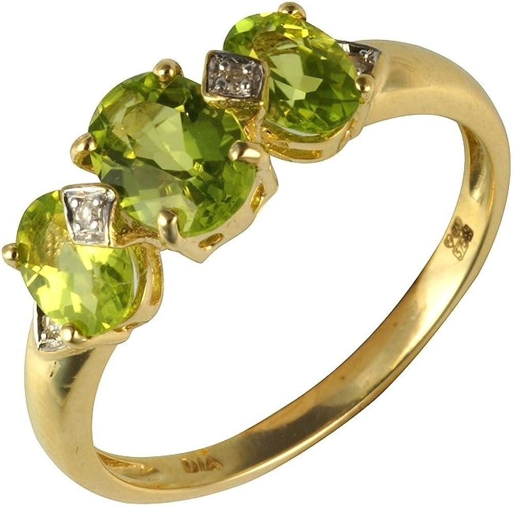 Bague - 181R3997-05 - Anillo de mujer de oro amarillo (9k) con diamantes y peridotos
