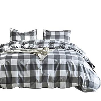Bettwäsche Männer 135x200 2teilig Grau Weiß Karo Karierte Bettwäsche