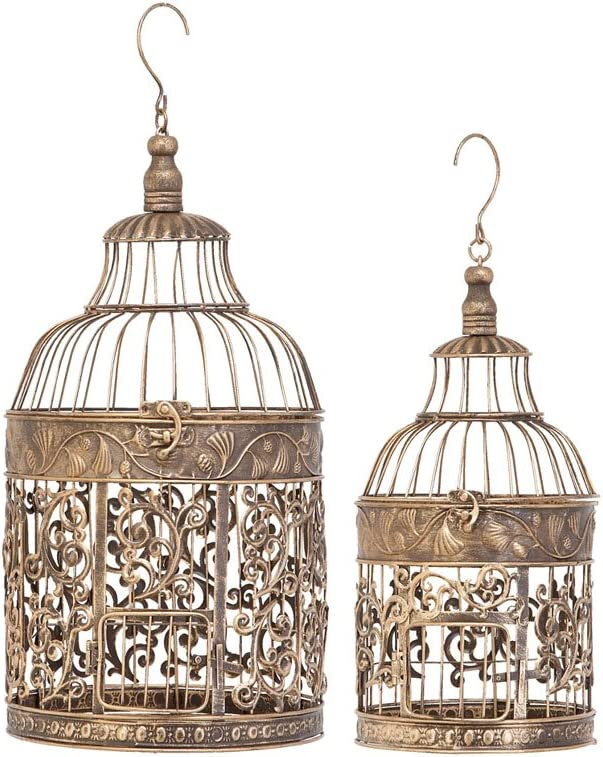 Metal Bird Cage S/2 Bird Keeping with Decor Sense