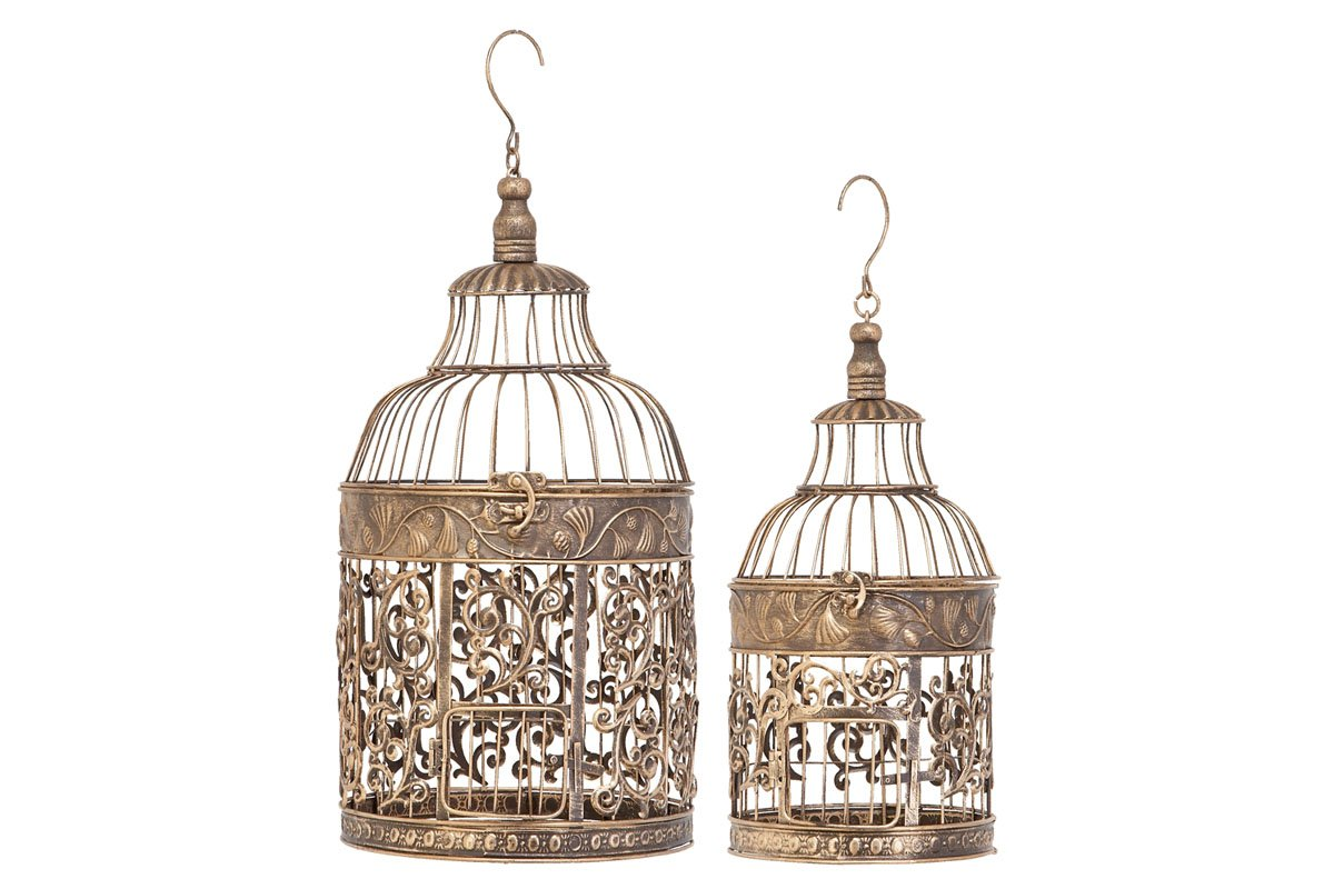 2-Pc Bird Cage Set in Brown Benzara 66017