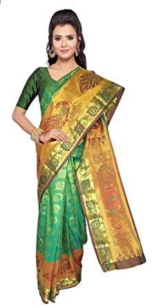 c759609578bc45 Amazon.com: VFCollections - Kanchipuram Pattu Silk Saree - Rose Flowers  Buta All Over with Blouse Piece for Women (Green): Clothing