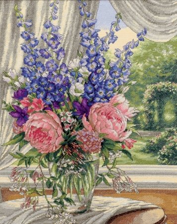 Dimensions 35257 Gold Collection Peonies/Delphiniums Counted Cross Stitch Kit-12X15 18 Count