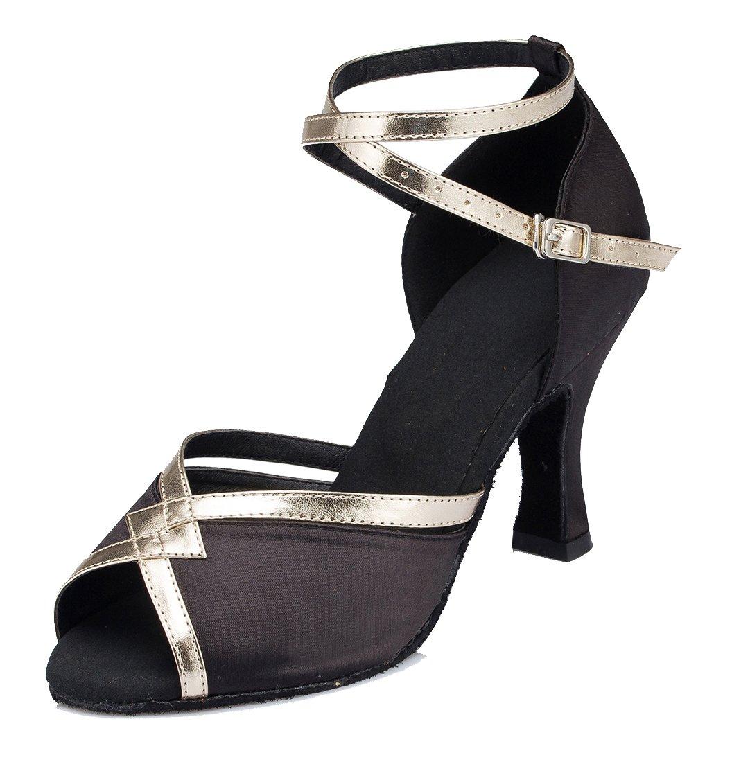 TDA CM106 Womens Ankle Strap Black Satin Latin Modern Samba Rumba Wedding Dance Shoes 6.5 M US