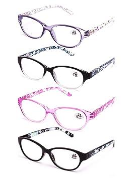Pack de 4 Gafas de Lectura Vista Cansada Presbicia, Graduadas Dioptrías +1.00 hasta +4.00, ...