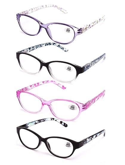 Pack de 4 Gafas de Lectura Vista Cansada Presbicia, Graduadas Dioptrías +1.00 hasta +4.00, Gafas de Hombre y Mujer Unisex con Montura de Pasta, ...