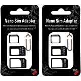 2 Pcs SIM Card Adapter Kit - 4 in 1 Nano Micro Standard Converter Kit with Steel Tray Eject Pin