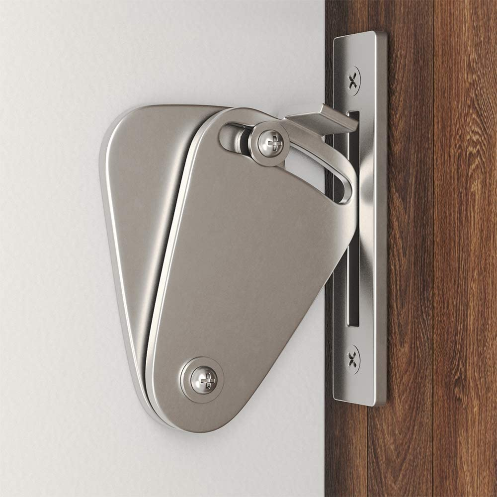 Brushed Nickel WINSOON Barn Door Lock Hardware Stainless Steel Sliding Privacy Latch for Closet Shed Pocket Doors Wood Gates