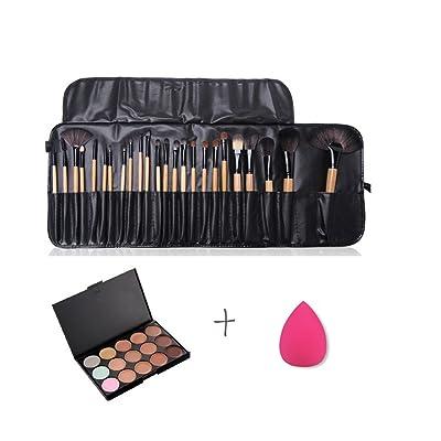 Pure Vie® 24 Pcs brochas de maquillaje + 1 Esponja Fundación Puff + 15 Colores Corrector Camuflaje Paleta de Maquillaje Cosmética Crema - Perfecto para Sso Profesional y Diario