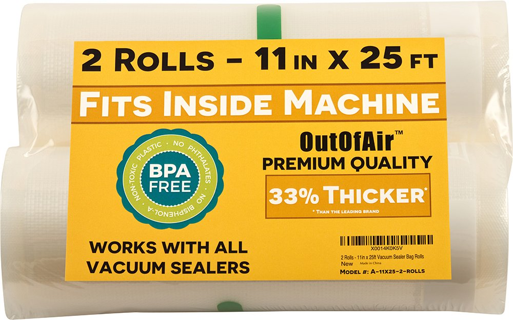 "11"" x 25' Rolls (Fits Inside Machine) - Pack of 2 (50 feet total) OutOfAir Vacuum Sealer Bag Rolls for Foodsaver and Other Savers. 33% Thicker, BPA Free, FDA Approved, Sous Vide, Commercial Grade"
