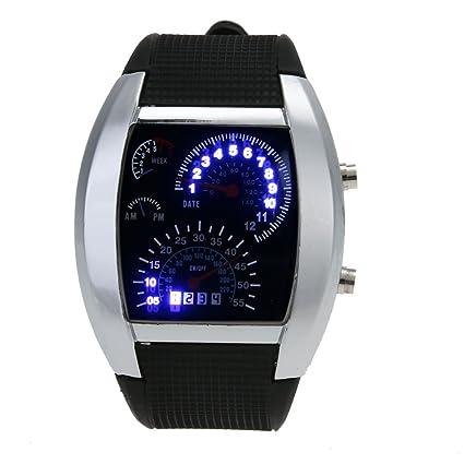 Hombres Azul Blanco LED Watch negro goma velocímetro Digital muñeca reloj Casual analógico reloj de cuarzo