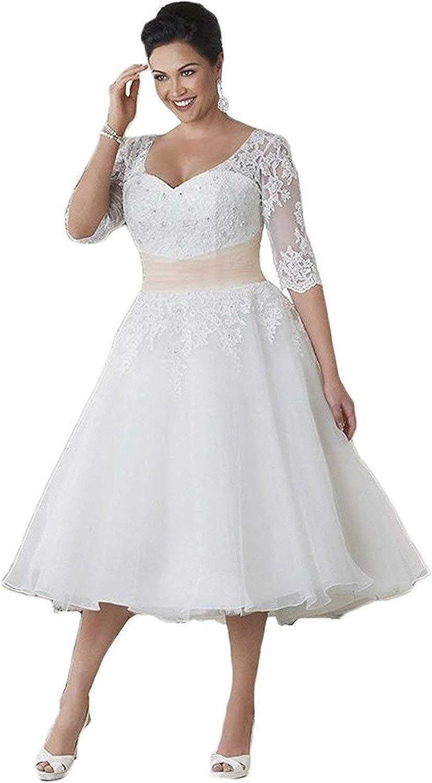 HUINI Brautkleider Große Größen Spitze Tüll A Linie Wadenlang Hochzeitskleider Applikationen Herz-Auschnitt