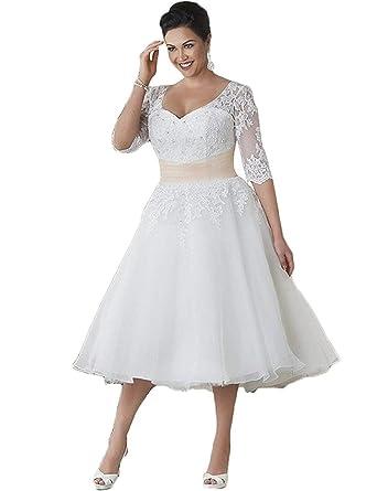 3848d49f05 HUINI Brautkleider Große Größen Spitze Tüll A Linie Wadenlang  Hochzeitskleider Applikationen Herz-Auschnitt Weiß 32