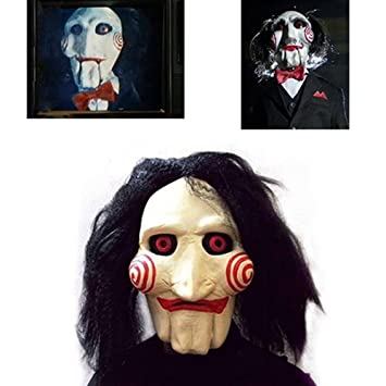 yicat saw movie jigsaw puppet mask halloween full mask head latex creepy scary - Puppet Halloween