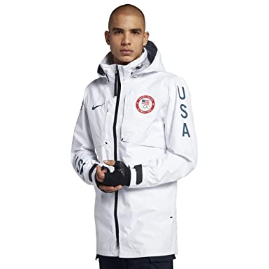 buy popular 051ec 15686 Nike Lab Team USA Winter Olympic Medal Stand Men s Jacket (White Black,  Medium