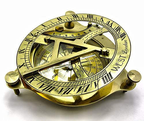 Brass Metal Compass Sundial 4'' Solid Brass