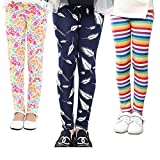 MarJunSep 3 Packs Girls Leggings Pants Stretch Printing Flower Toddler Leggings Kids (12-13 Years, Pack-B)