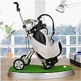 Golf Souvenir with Clock Golf Bag Holder Mini Desktop Gift Novelty Golf Model with Golf Pen