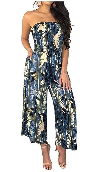 7cd690d1700c Amazon.com  Tootless-Women Summer Print Strapless Shoulder Off Wide ...