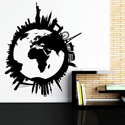 World map wall decal world globe wall decal travel stickers city world map wall decal world globe wall decal travel stickers city skyline scape decals living gumiabroncs Gallery