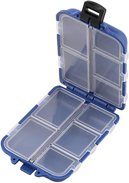 Fishing Tackle Box 10 Compartments Compact Hook Case Angler Gears Fly Ice Bait
