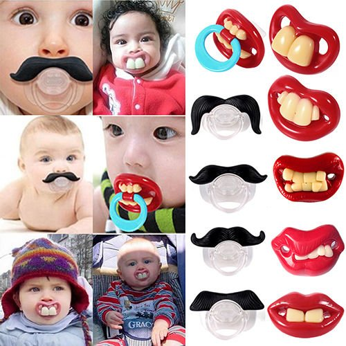 Funny Teeth Mustache Baby Boy Girl Infant Pacifier Orthodontic Dummy Nipples (Tinkerbell Funny)
