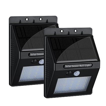 20 LED Foco Solar de 2 Unidades, Topop Lámpara LED Exterior Impermeable con Sensor de
