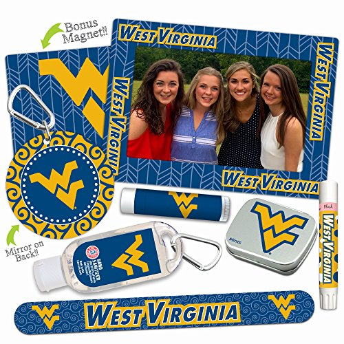 West Virginia Mountaineers—DELUXE Variety Set (Nail File, Mint Tin, Mini Mirror, Magnet Frame, Lip Shimmer, Lip Balm, Sanitizer). NCAA gifts, stocking stuffers. Only from Worthy. (Pick Basketball Guaranteed Ncaa)