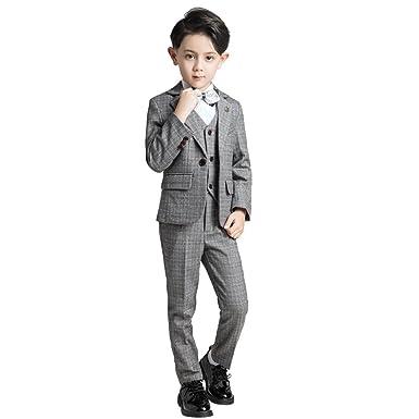 Amazon.com: Yuanlu 5 Piece Plaid Kids Formal Communion Suits Boys ...