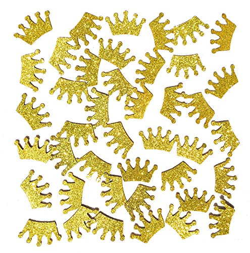 Famoby Gold Glittery Prince King Crown Confetti for Baby shower party decorations 100pcs/pack (Gold Decoration Crown)