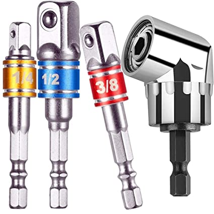 Right Angle Drill,105 Degree Right Angle Driver Extension Screwdriver Drill Attachment Travonatio Gift Impact Grade Power Hand Tools Driver Sockets Adapter Extension Set,3pc Hex Shank Drill Nut Driver Bit Set+