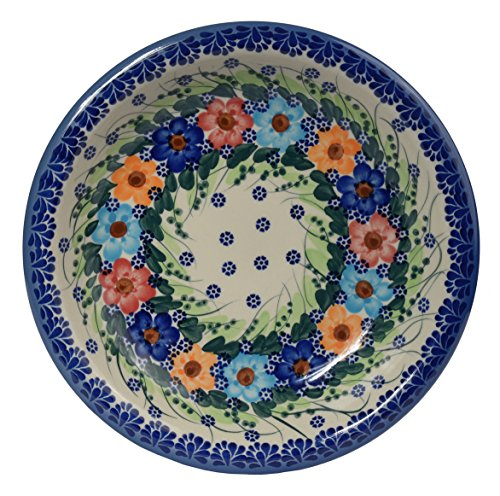 Traditional Polish Pottery, Handcrafted Ceramic Soup or Pasta Plate 22cm, Boleslawiec Style Pattern, T.201.Garland