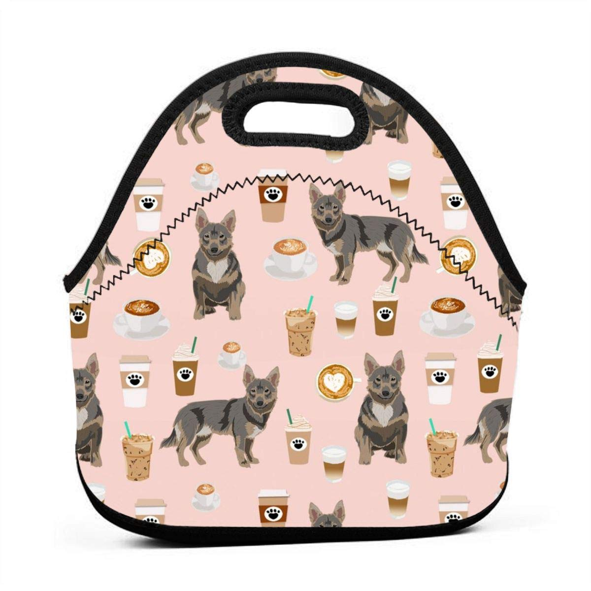 Dog Dog Breeds Pink Lunch Bag Insulated Thermal Lunch Tote Outdoor Travel Picnic Carry Case Lunchbox Handbags with Zipper Swedish Vallhund Dog Coffees Coffee Cute Dog Swedish Vallhund