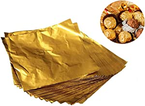 300 Pcs Chocolate Candy Wrappers Golden Aluminium Foil Paper Wrapping Papers Square Sweets Lolly Paper Food Safety Candy Tin Foil Wrappers for DIY Candy Packaging Decoration 4 x 4 Inch