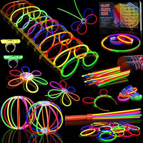 Myamy Glow Sticks Bulk 200 8'' Glowsticks 466Pcs 7 Colours for Kids Connectors Bracelets Necklaces Balls Glasses Butterfly Headbands Rings Spray Glow in The Dark Light Up Toys Party -