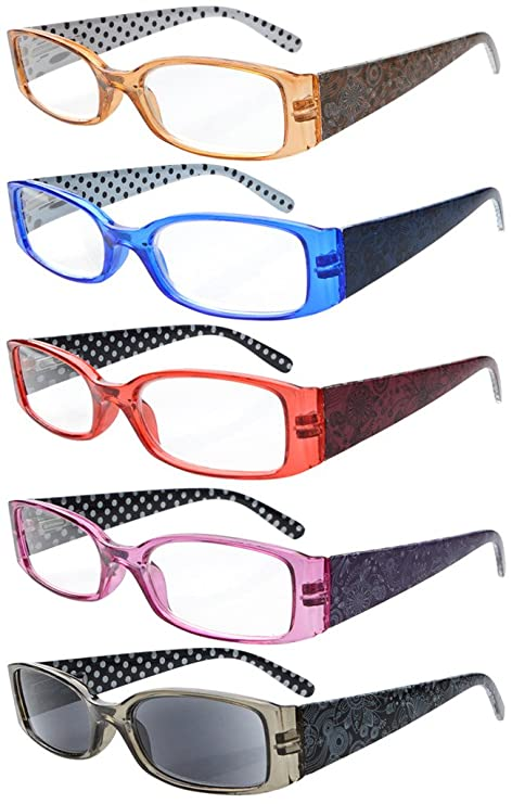 bcd36130814 Eyekepper 5-Pack Spring Hinges Polka Dots Patterned Temples Reading Glasses  Sunshine Readers +4.0  Amazon.co.uk  Health   Personal Care