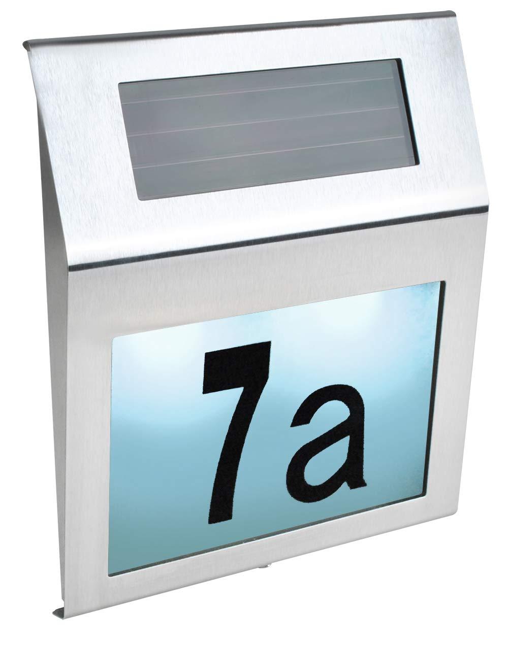 Iso Trade Solar Hausnummer LED Zahlen Buchstaben Akku D/ämmerungssensor Montagematerial 6783