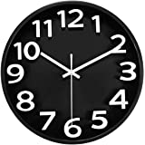 MixArt 12'' Large Silent Non-Ticking Quartz Wall Clock Battery Operated Decorative with Easy to Read Bold 3D Numbers for Home Office Living Room Kitchen Classroom (Black)