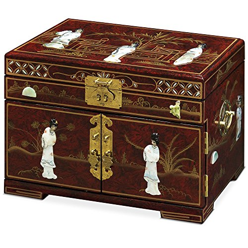 (ChinaFurnitureOnline Jewelry Box with Mother of Pearl Maidens on Red Lacquer)