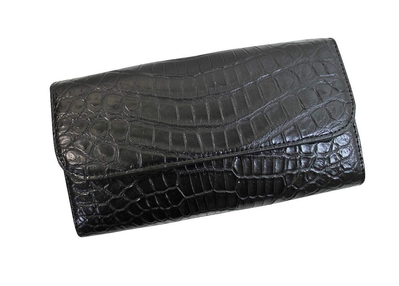 クロコダイル 本革 長財布 メンズ レディース ヘンローン社製 かぶせ ブラック B07RLFZLF4