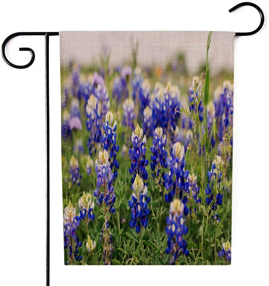 Teepel Garden Flag Decor,Personalized Garden Flags 12.5X18 Inches Bunch of Texas Blue and Purple Flowers Blooming in Springtime Bluebonnets Camping Garden Flags for Campers,Outdoor Fall Decorations