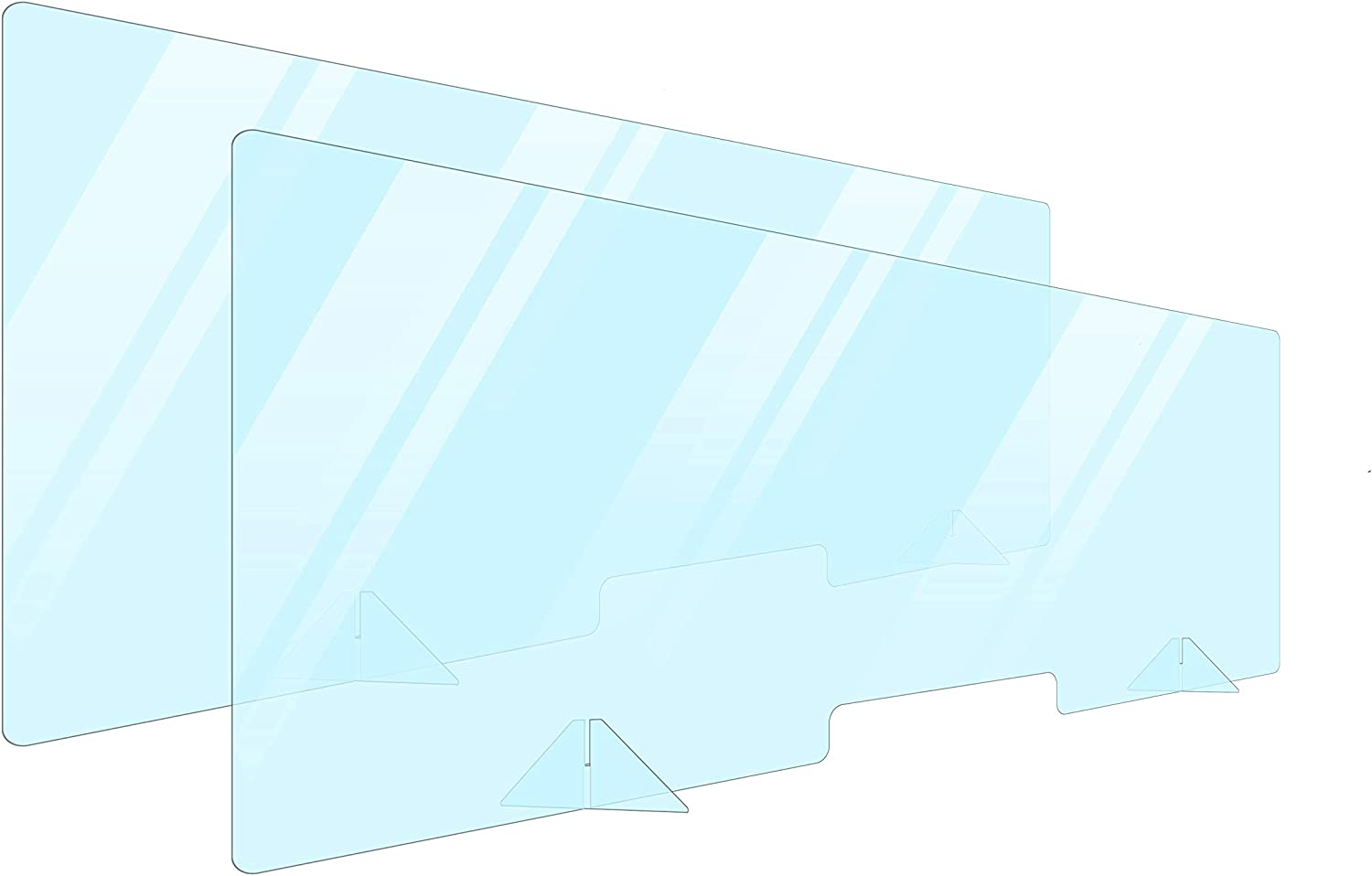 2 Pack Plexiglass Barrier For Counter Plexi Glass Screen 60x24 Desk Shields For Germ Protection Sneeze Guard Shield For Counter Plexiglass Divider For Desk Sneeze Guards For Countertops Multiple Sizes