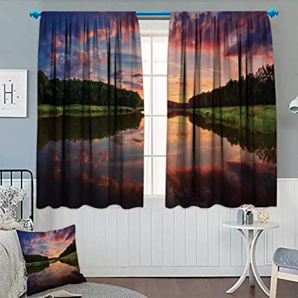 Delicieux Americana,Blackout Curtain,Forest Park In Ukraine Scenic Panorama With  Water Reflection Picture Print