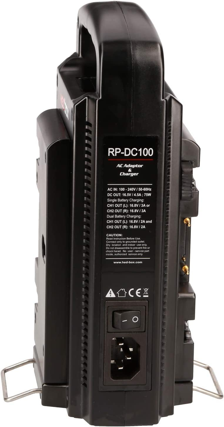 REDPRO RP-DC100A Gold Mount Professional 2-ch Dual Digital Simultaneous Battery Charger//Power Bank Station