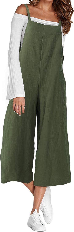 ACHIOOWA Donna Salopette Jeans Lunga Elegante Cotone Maniche Corte Moda Tasche Nuovo Ufficio