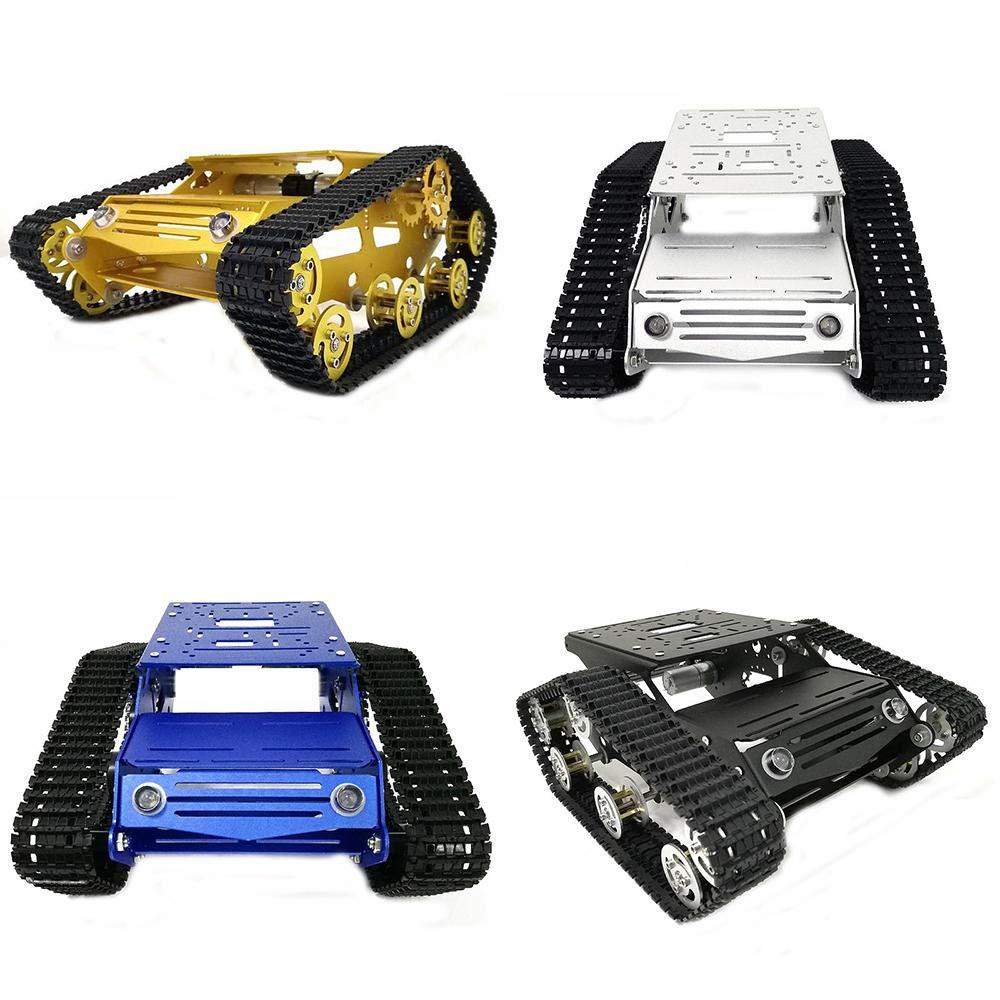 Y100 Crawler Chassis Tank Car Kit With Aluminum Alloy Wheels/9V Motor Gold/Silver/Black/Blue Color - Compatible SCM & DIY Kits Smart Robot & Solar Panel - (Black)