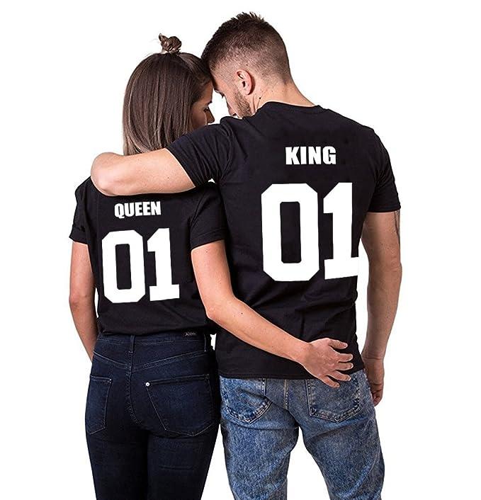 fbd1cde37cf06 Parejas Camiseta King Queen T-Shirt 100% Algodón Shirts Impresión 01 2  Piezas de Manga Corta Rey Reina Regalo de San Jorge Camisa Casual Para  Amante  ...