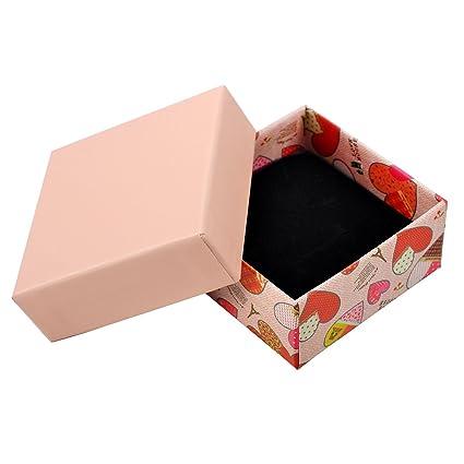 HooAMI papel rosa cuadrado cajas de joyería de cartón con relleno 7,3 cmx7.